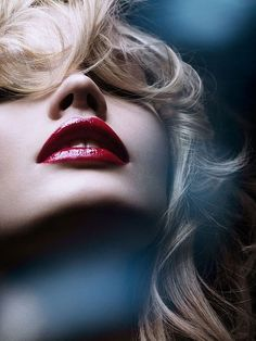 blonde, girl, lipstick, red #EasyPin