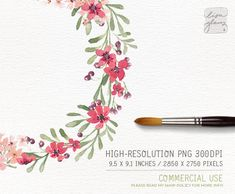 This pink blossom and berry branch watercolor wreath is hand painted with love. It looks beautiful on wedding stationery, but of course is not limited to that. The artwork will be instantly available to you after your purchase. :::::::::::::::: This listing includes ::::::::::::::::  1 x watercolor wreath - with a transparent background Color: as shown above Size: approx. 9.5 x 9.1 inches / 2850 x 2750 pixels Format: PNG 300DPI  Please note: the watercolor paper texture background is not...