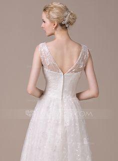 A-Line/Princess V-neck Floor-Length Zipper Up Regular Straps Sleeveless Beach Hall General Plus No Spring Summer Fall Ivory Lace Wedding Dress