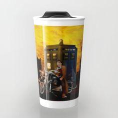 10th Doctor who with Big Motorcycle Travel Mug #mug #travelmug #doctorwho #10thdoctor #davidtennant #tardis #summer #tenthdoctor #halloween #vangogh #starrynight #mist #fog