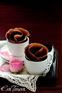 This is a chocolate crepe. I love the idea of making it look like a rose for a valentine's day dessert.