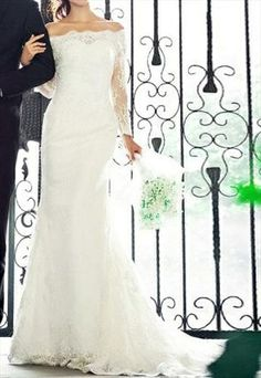 This is the dress--- RETRO FRENCH LACE OFF SHOULDER EMPIRE WEDDING DRESS - Wedding-Day-Bliss