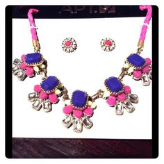Pink Statement Necklace & Earring Set NWT Cute set pink braided chain with gemstones of purple and pink and some pale yellow. Cute set new! Apt. 9 Jewelry