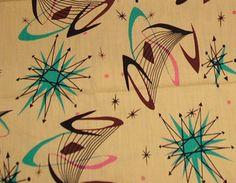 1950s Atomic starburst design barkcloth