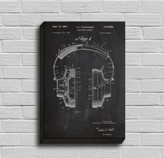 CANVAS - Headphones Patent, Headphones Poster, Headphones Blueprint, Headphones Print, Headphones Art, Headphones Decor by STANLEYprintHOUSE  34.99 USD  We use a specially manufactured cotton blend canvas for archival printing, and high end printers to produce a stunning quality canvas that's made to last.  The printing technology used for the canvas is eco-solvent.  Our art is guaranteed to turn heads and will make a great affordab ..  https://www.etsy.com/ca/listing/263686169/can..
