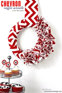 DIY Chevron Ruffle Wreath - SO CUTE! No Sew Fabric Punch | Kim Byers, TheCelebrationShoppe.com #red #white #diywreath