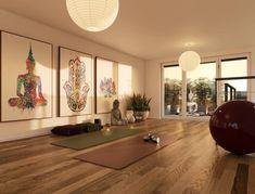 Home Yoga Room, Yoga Room Decor, Meditation Room Decor, Gym Room At Home, Relaxation Room, Meditation Space, Yoga Rooms, Yoga Meditation, Yoga Spaces
