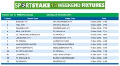 #SportStake13 Weekend Fixtures - 10 December 2016