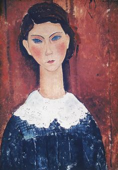 "bagofthapphireth: ""Head of a Girl Amedeo Modigliani 1917 "" Italian Painters, Italian Artist, Amedeo Modigliani, Art Moderne, Matisse, Beautiful Paintings, Oeuvre D'art, Great Artists, Les Oeuvres"