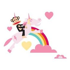 0d725ccc0b Paul Frank Julius Unicorn Love Over Rainbow Wall Sticker Decal Wallpaper  Kids Room Decor  55 Rainbow