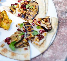 Clever nibbles that are ideal for sharing. Top Middle Eastern flatbreads with aubergines, herbs and tahini