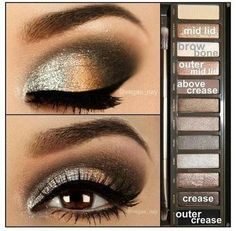 Absolutely LOVE this eye make-up! I just really love to do other peoples eye make-up! Gold Eye Makeup, Prom Makeup, Skin Makeup, Wedding Makeup, Makeup Contouring, Homecoming Makeup, Eyeshadow Makeup, Eyeshadow Palette, Applying Makeup