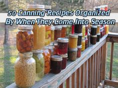 50 Canning Recipes Organized By When They Come Into Season(updated) Read HERE ---  http://www.livinggreenandfrugally.com/50-canning-recipes-organized-by-when-they-come-into-season/