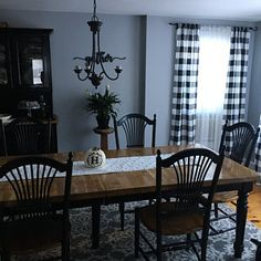 Black and White Buffalo Check Curtains - Rod Pocket - Options for Cotton and Blackout Lining Buffalo Plaid Curtains, Buffalo Check Curtains, Small Country Kitchens, Farmhouse Style Kitchen, Farmhouse Decor, Dining Room Design, Interior Design Living Room, Dining Rooms, Dining Table