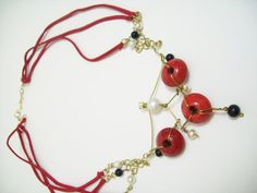 Red elegance necklace by OjosDelSol on Etsy