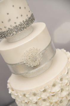 Silver and Sequins Wedding Dessert Table via Kara's Party Ideas KarasPartyIdeas.com Decor, printables, desserts, favors, etc! #silverwedding #weddingdesserttable (16)