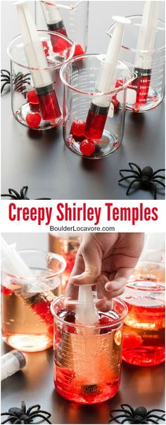 Creepy Shirley Temples. There's nothing like a few fun props to turn this simple mocktail into a Halloween horror! Shirley Temples served in glass beakers with blood-red grenadine in a liqueur shot syringe for fun! BoulderLocavore.com