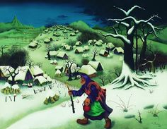 Croatian Naive Art  / Mijo Kovacic / Woman in Win­ter Land­scape, 1965. #naive_art  #croatia