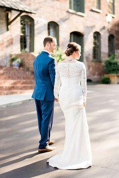 Full length lace sleeve wedding gown (photo taken by ajdunlap.com) http://ajdunlap.com/melrose-knitting-mill-wedding/