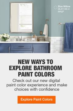 Bathroom Paint Colors - The Home Depot Painting Bathroom Walls, Best Bathroom Paint Colors, Bathroom Color Schemes, House Painting, Small Bathroom Inspiration, Bathroom Ideas, Home Depot Paint, Home Depot Bathroom, Popular Paint Colors