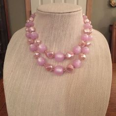 VINTAGE PINK AND GOLD NECKLACE STUNNING VINTAGE NECKLACE BEAUTIFUL PINK NECKLACE Vintage Jewelry Necklaces