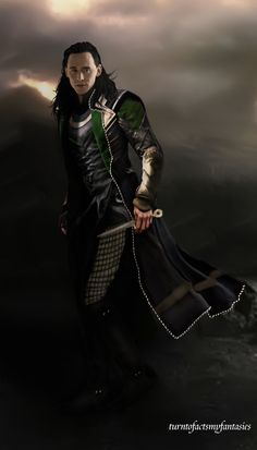 "Tom Hiddleston ""Loki"" Fan art From http://turntofactsmyfantasies.tumblr.com/post/88769545420/wedrawwhatwewant-half-badass-loki-from-an-half#notes"