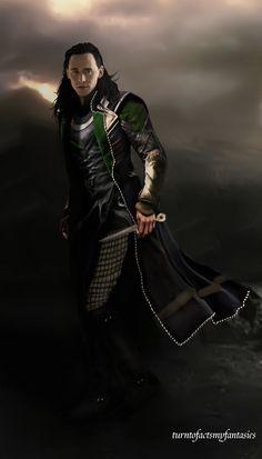 "Tom Hiddleston ""Loki"" Fan art From http://turntofactsmyfantasies.tumblr.com/post/88769545420/wedrawwhatwewant-half-badass-loki-from-an-half#notes"