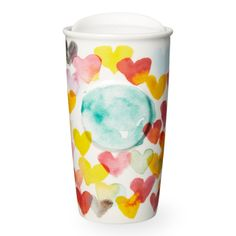 A double-walled ceramic mug featuring a heart of every hue in watercolor style. Part of the Dot Collection.