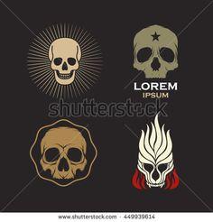 Skull logo design icon vector set - stock vector