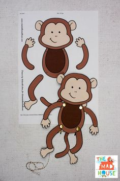Easy Monkey Paper Puppet with Templates - Mum In The Madhouse Rainforest Crafts, Jungle Crafts, Vbs Crafts, Classroom Crafts, Amazon Rainforest, Cardboard Crafts, Bead Crafts, Summer Crafts For Toddlers, Paper Crafts For Kids