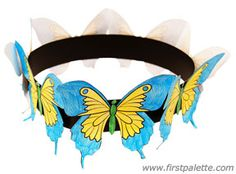 Craft an easy springtime crown adorned with colorful paper butterflies.
