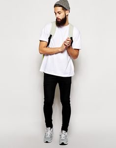 White shirt Black jeans sneakers beanie men beard fashion tumblr