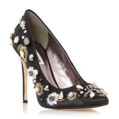 DUNE LADIES BRIONIE - Pointed Toe Embellished Court Shoe - black | Dune Shoes Online