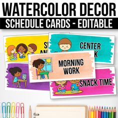 Editable schedule cards with clipart, watercolor classroom decor. Diy Classroom Decorations, Classroom Themes, Classroom Organization, Curriculum, Homeschool, Free Schedule Cards, Classroom Daily Schedule, Teacher Created Resources, Jobs