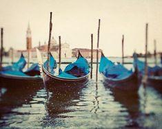 Venice Photography, Gondolas, Italy Photograph, Travel, Blue, Yellow, Water, Boats - Sploosh