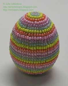 Beading for the very beginners: Easter Egg decorated with beads in the square stit...