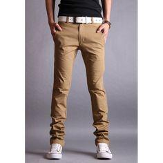 Simple Design Zipper Fly Solid Color - vpstyles #mens #mensfashion #menpants