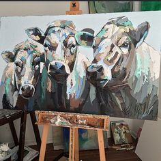 Painting by Kate Mullin. Cow Paintings On Canvas, Animal Paintings, Canvas Art, Painting Inspiration, Art Inspo, Deer Skull Art, Cow Art, Wildlife Art, Creative Art