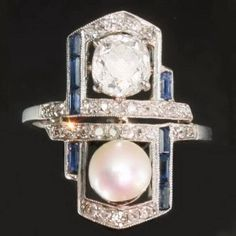 Art deco pearl diamond engagement ring sapphire (ca.1920)