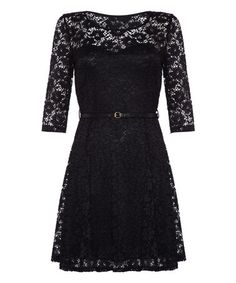 Love this Black Belted Lace A-Line Dress - Women by Iska London on #zulily! #zulilyfinds