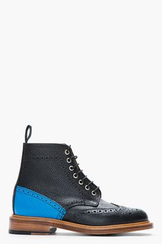MARK MCNAIRY Black and turquoise pebbled leather Cownes Brogue boots