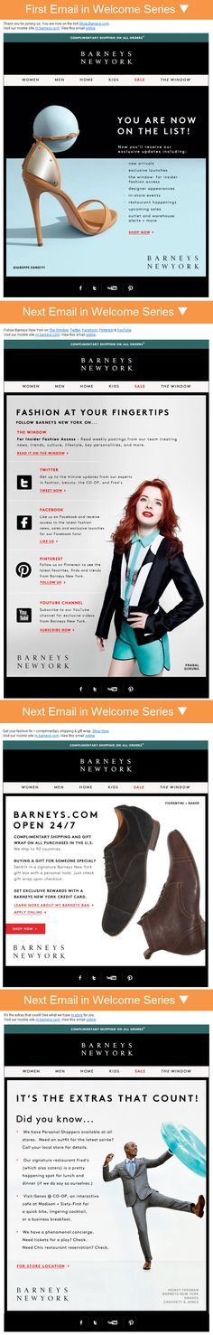 Barneys' 4-email welcome series