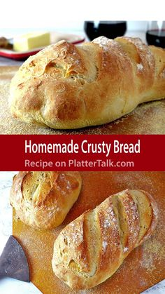 Homemade Crusty Bread from your kitchen and Platter Talk. Homemade Crusty Bread from your kitchen and Platter Talk. Related posts: This homemade crusty bread recipe from Platter Talk uses just 3 ingredients and … Blueberry Banana Bread Artisan Bread Recipes, Yeast Bread Recipes, Bread Machine Recipes, Baking Recipes, Italian Bread Recipes, Wheat Bread Recipe, No Yeast Bread, Keto Bread, Same Day Bread Recipe