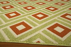 "Squares Indoor/Outdoor Rug (Green) - 8'6"" x 13"" : $622.00. Available online at www.TheLookInteriorsNH.com"