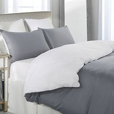 Vaulia Lightweight Microfiber Duvet Cover Set, Reversible Color Design, Grey and White – Full/Queen Size