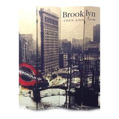 ORE International NY-1075-4 4 Panel Brooklyn Then And Now City Room Divider  4 Panel Brooklyn Then And Now City Room DividerThis 4 panel room divider with