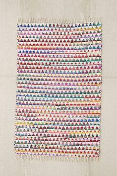 Teppich mit gewebtem Dreiecksdesign in Bunt, 2 x 3 Fuß