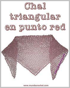 Patron chal triangular en punto red a crochet o ganchillo Punto Red Crochet, Crochet Shawl, Free Crochet, Knit Crochet, Crochet Flowers, Free Pattern, Crochet Patterns, Stitch, Knitting