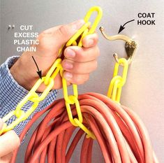 Hook and Chain Cord Hanger: for storing bulky extension cords and more! #DIY #organization #StorageIdeas