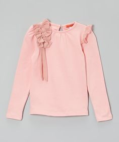 Take a look at this Pink Ruffle Bow Tee - Toddler & Girls on zulily today!